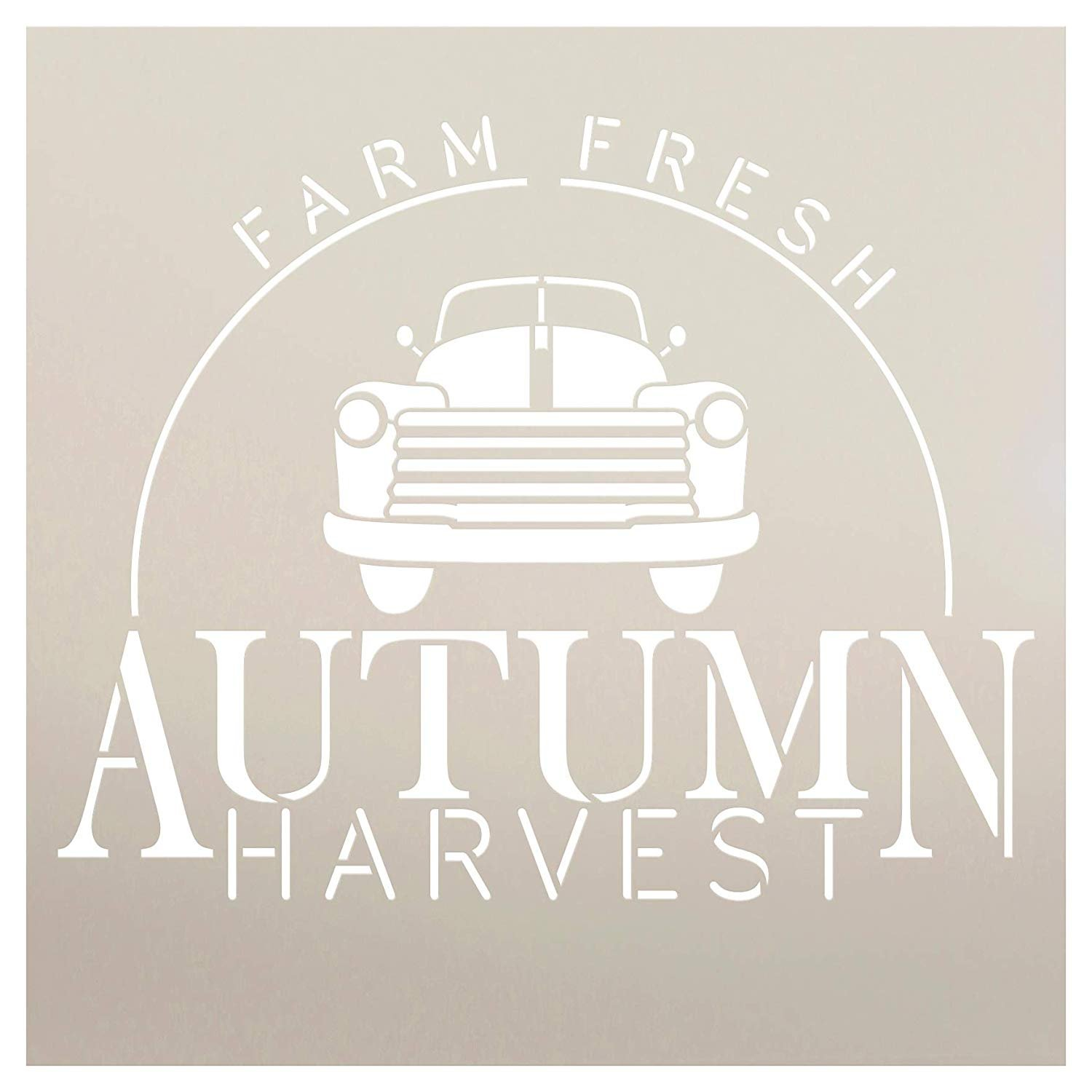 Farm Fresh Autumn Harvest with Vintage Truck Stencil by StudioR12   Paint Signs   Word Art Reusable   Family Room   Paint Chalk Mixed Media   Fall Holiday   DIY Home - Choose Size