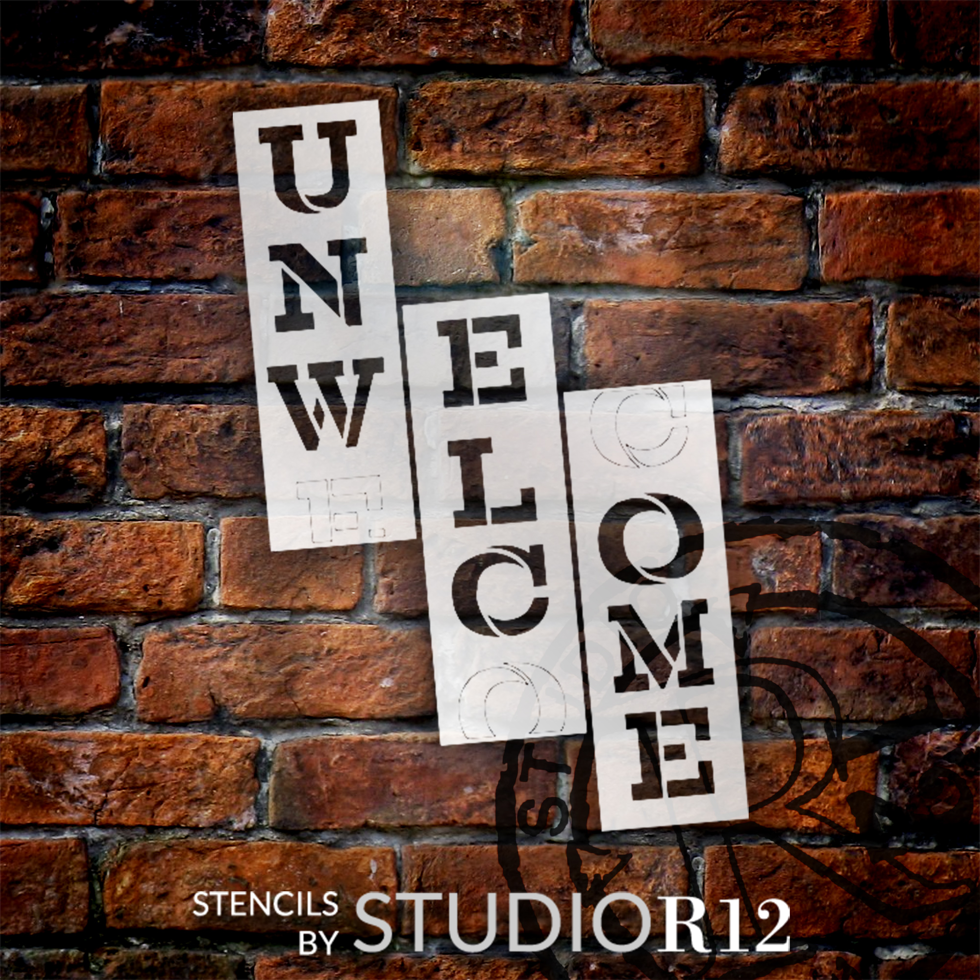 Unwelcome Tall Porch Stencil by StudioR12   3 Piece   DIY Large Vertical Funny Outdoor Home Decor for Front Door or Entryway   Craft & Paint Wood Leaner Signs   Reusable Mylar Template   Size 6ft