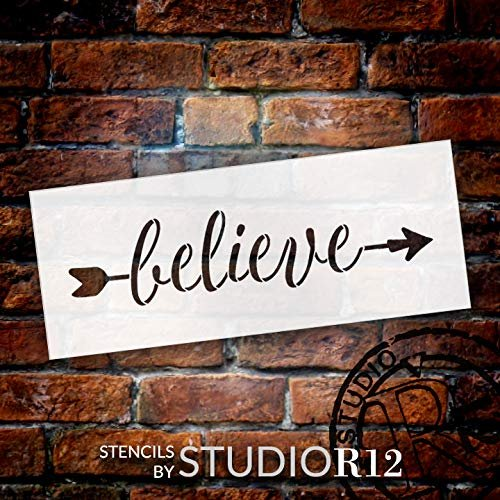 Arrow Believe Stencil by StudioR12   Reusable Mylar Template   Use to Paint Wood Signs - Pallets - Pillows - DIY Home & Faith Decor - Select Size