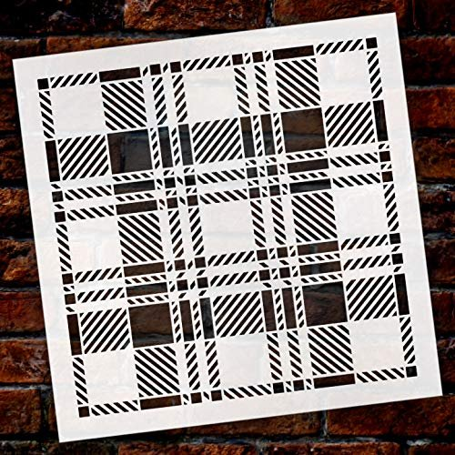 Plaid Black Watch Saddle Flannel Stencil by StudioR12 | Wood Signs | Word Art Reusable | Family Dining Room | Painting Chalk Mixed Multi-Media | DIY Home - Choose Size