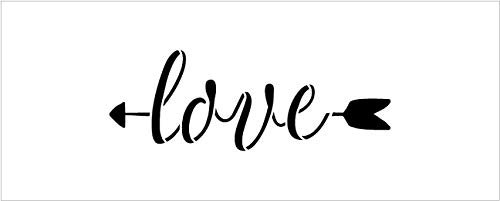 Arrow Love Stencil by StudioR12 | Reusable Mylar Template | Use to Paint Wood Signs - Pallets - Pillows - DIY Home & Faith Decor - Select Size