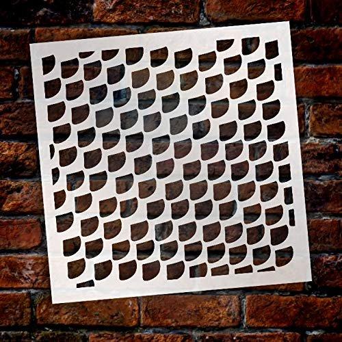 Multimedia Mermaid Fish Scale Texture Stencil StudioR12 | Wood Sign | Reusable Mylar Template | Cake Decorating | Multi Layering Art Nautical | Journal Art Deco | DIY Home - Choose Size