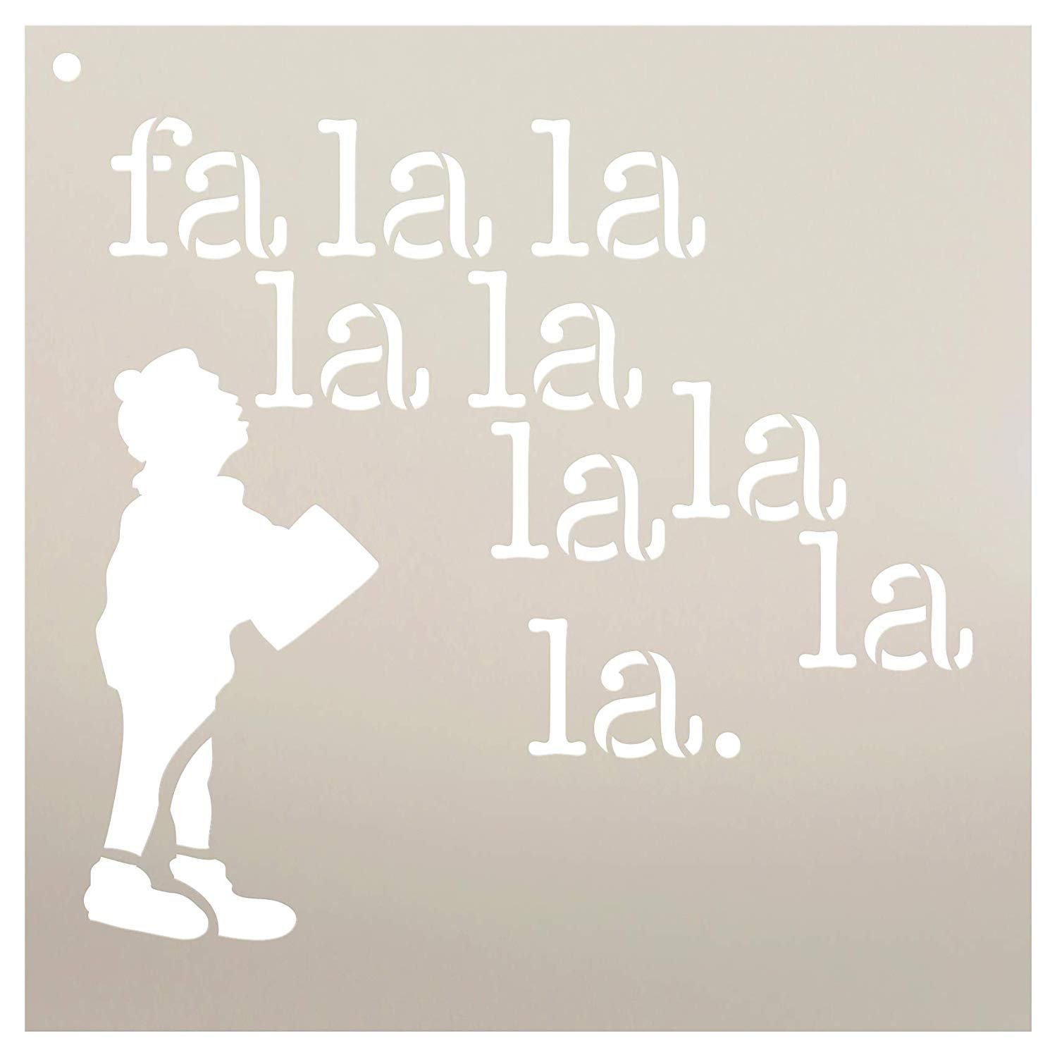 FA La La La with Caroler Stencil by StudioR12 | Reusable Mylar Template | Use to Paint Wood Signs - Pallets - Wall - Pillows - DIY Christmas Decor - Select Size