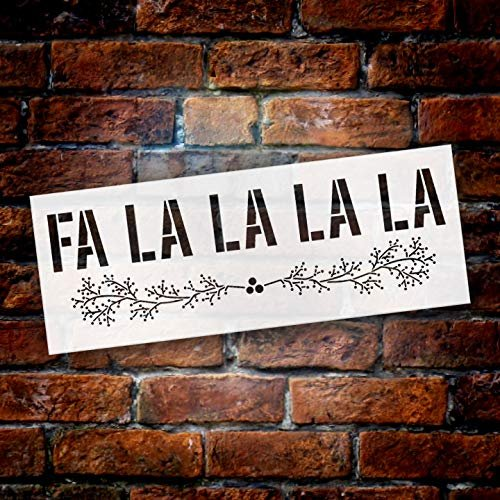 FA La La La with Berry Branches Stencil by StudioR12 | Reusable Mylar Template | Use to Paint Wood Signs - Pallets - Wall - Pillows - DIY Christmas Decor - Select Size
