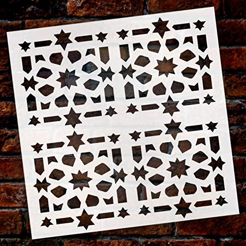 Old World Quilt Tile Shape Stencil by StudioR12 | Wood Sign | Reusable Mylar Template | Wall Decor | Multi Layering Art Project | Journal Art Deco | DIY Home - Choose Size