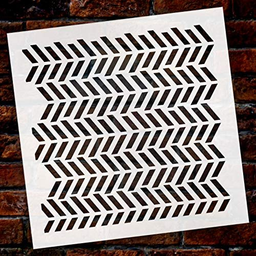 Fun with Shapes Herringbone Stencil by StudioR12 | Wood Sign | Reusable Mylar Template | Wall Decor | Multi Layering Art Project | Journal Art Deco | DIY Home - Choose Size