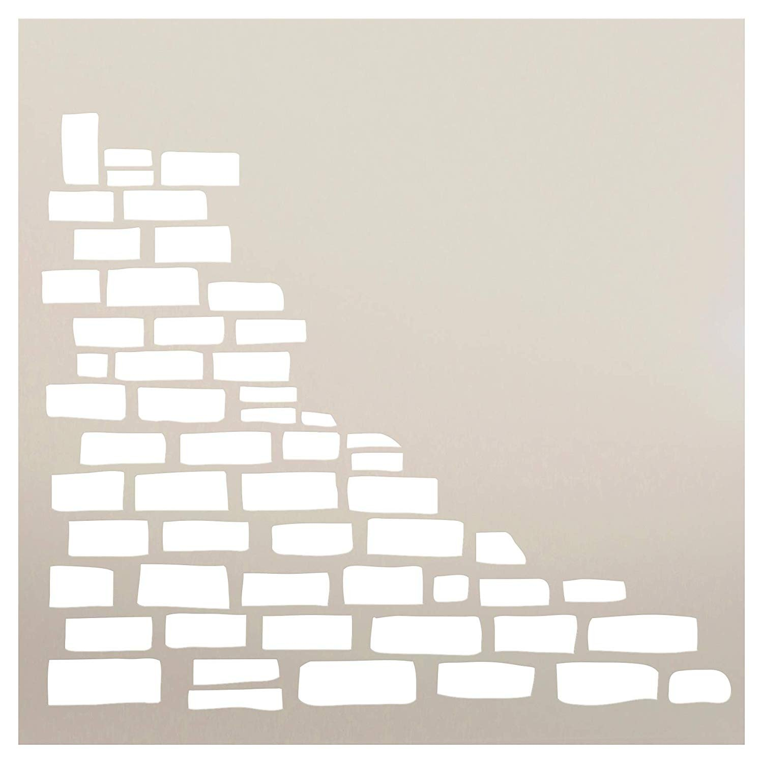 Fun with Shapes Half Stacked Stone Wall Stencil by StudioR12 | Wood Sign | Reusable Mylar Template | Wall Decor | Multi Layering Art Project | Journal Art Deco | DIY Home - Choose Size