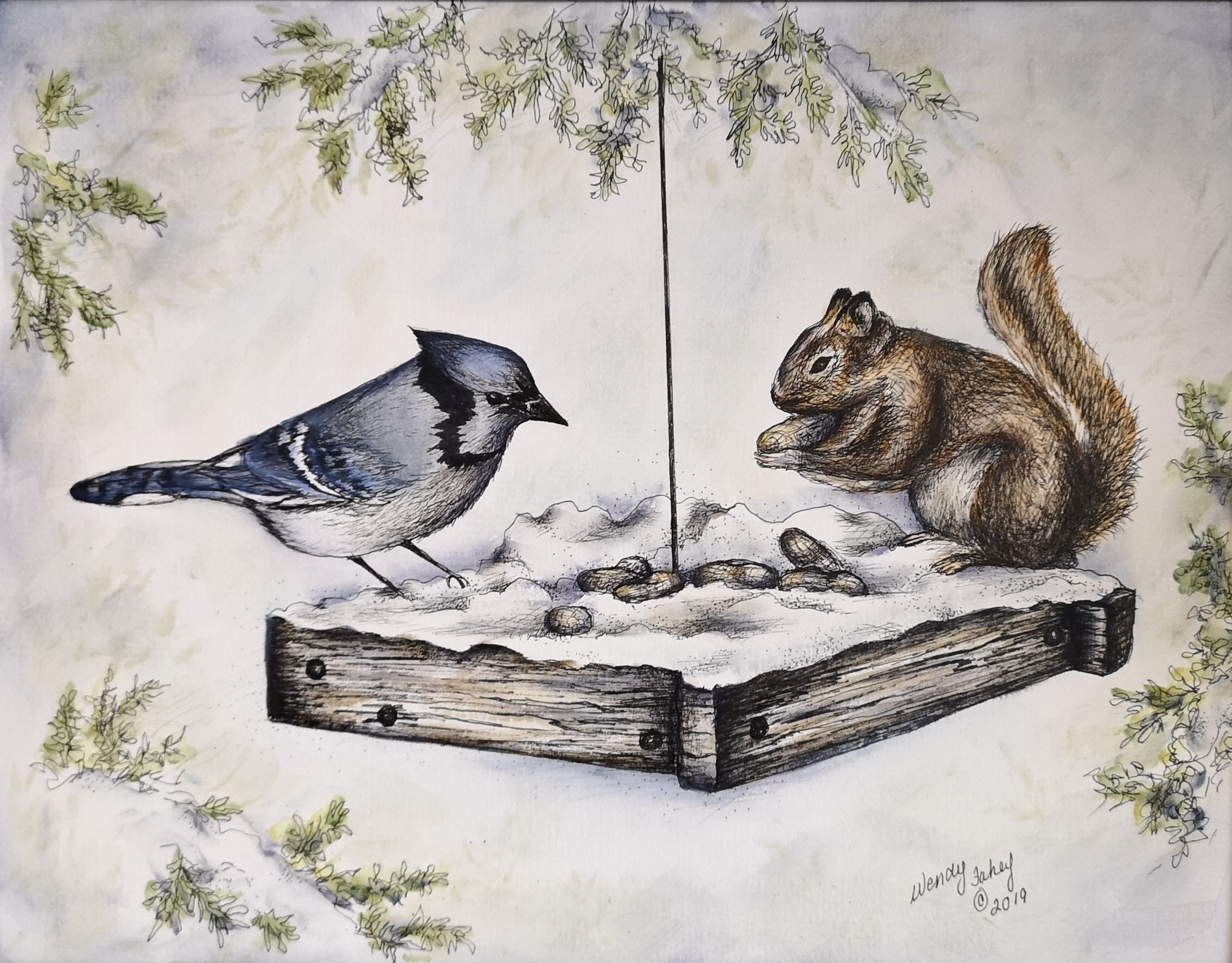 Northern Stand Off - Pen & Ink - E-Packet - Wendy Fahey