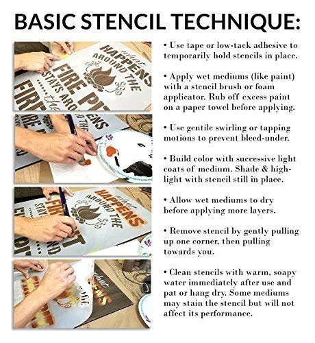 Farmhouse Word Stencil by StudioR12 | Wood Signs | Word Art - Reusable Mylar Template | Painting Chalk Mixed Media Multi-Media | Use for Journaling, DIY Home - Choose Size
