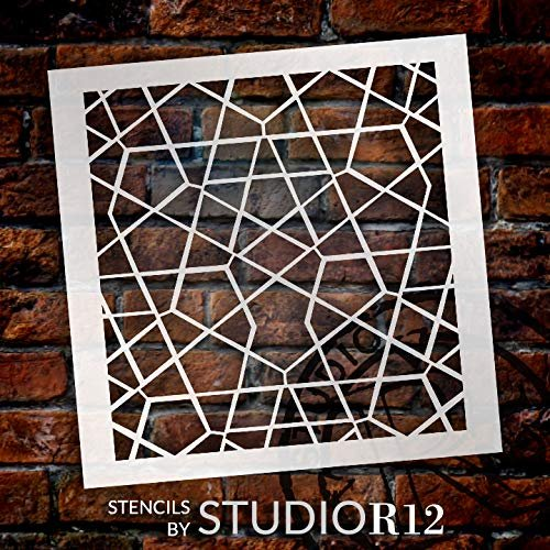 StudioR12 Mixed Media Stencil Maze Pentagon Pattern | DIY Card-Making Crafting Bullet Journal | Select Size