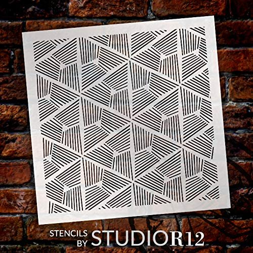 StudioR12 Mixed Media Stencil Triangle Muse Pattern | DIY Card-Making Crafting Bullet Journal | Select Size