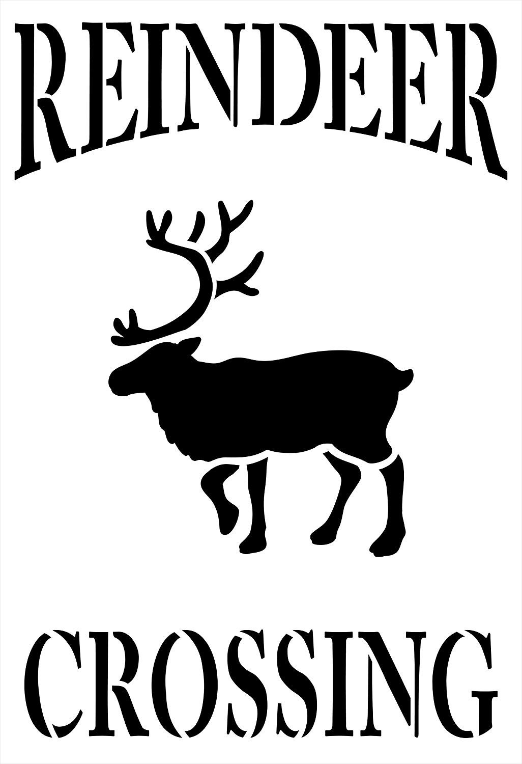 Reindeer Crossing Stencil by StudioR12 | Reusable Mylar Template Paint Wood Sign | Craft Country Christmas Holiday Home Decor Porch - Mantel | Rustic DIY Farmhouse Winter Gift Select Size