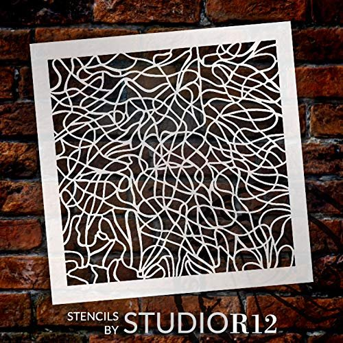 StudioR12 Mixed Media Stencil Scribble Form Pattern | DIY Card-Making Crafting Bullet Journal | Select Size