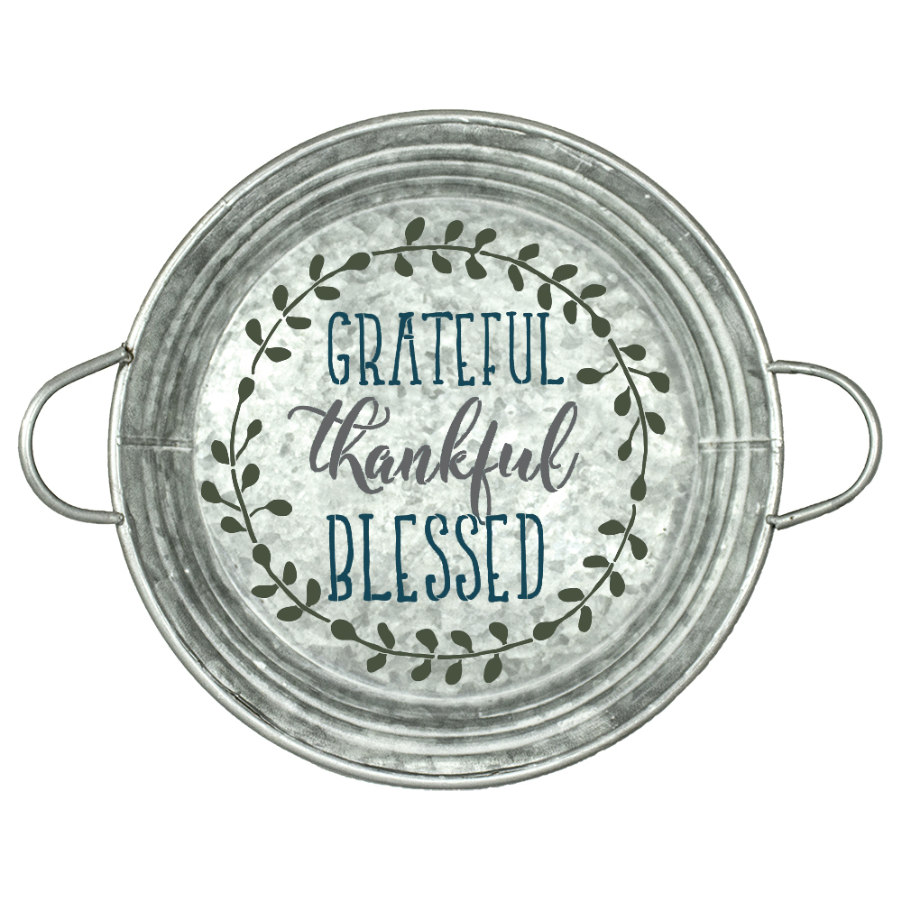 "Grateful Thankful Blessed with Wreath Stencil | Word Art | 9.5"" Round Small"