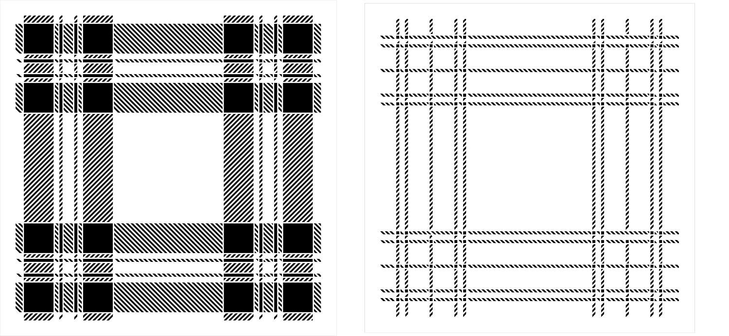 Tartan 2-Part Plaid Stencil by StudioR12 | Reusable Mylar Template | Paint Wood Signs - Pillows - Furniture - Walls | Craft Rustic Home Decor | DIY Scottish Kilt Line Pattern | Select Size