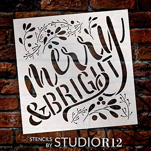 Merry & Bright Stencil by StudioR12 - Mistletoe | Reusable Mylar Template Paint Square Wood Sign | Craft Country Christmas Holiday Home Decor | Rustic DIY Ampersand Farmhouse | SELECT SIZE
