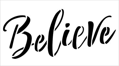 Believe Script Stencil by StudioR12 | Winter Holiday Christmas Decor Rustic Farmhouse Word Art | Reusable Mylar Template | Paint Wood Signs Chalk | DIY Home Crafting | Select Size