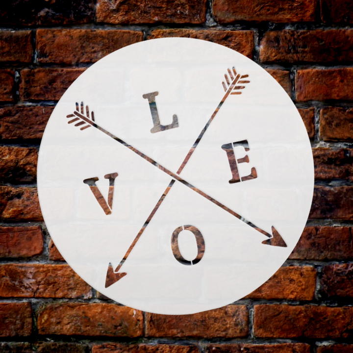 """Love with Crossed Arrows Stencil   by StudioR12   Rustic   9.5"""" Round Small"""