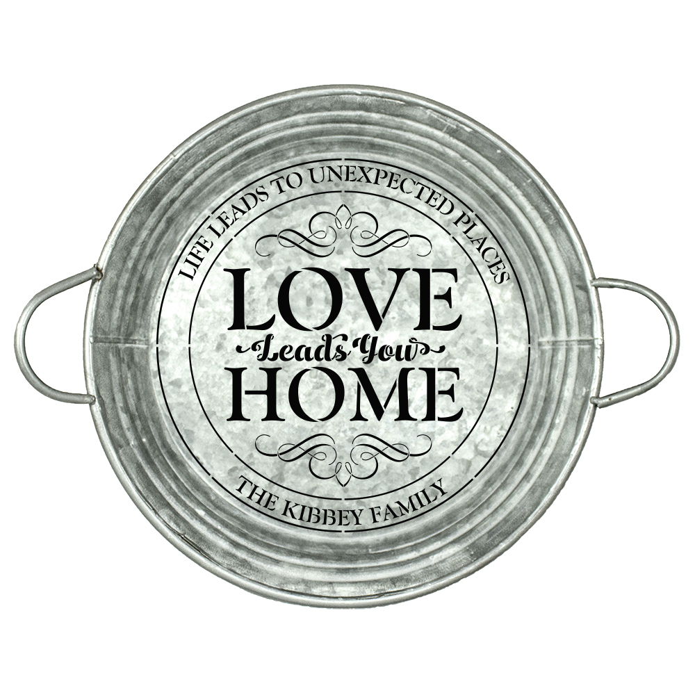 Personalized Stencil | Love Leads you Home | Family Name | 9.5 Inch Round | Small