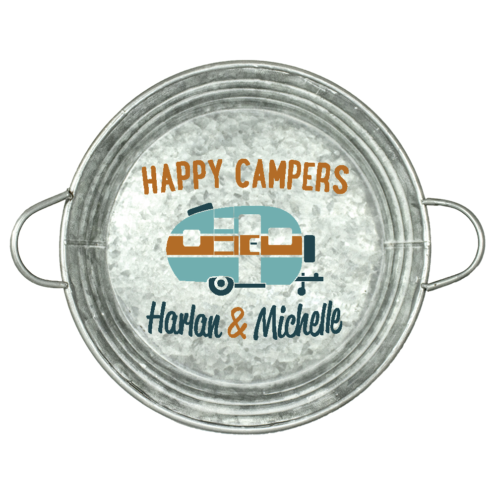 "Personalized Stencil by StudioR12 | Happy Campers| Word Art Reusable Custom | 9.5"" Round 
