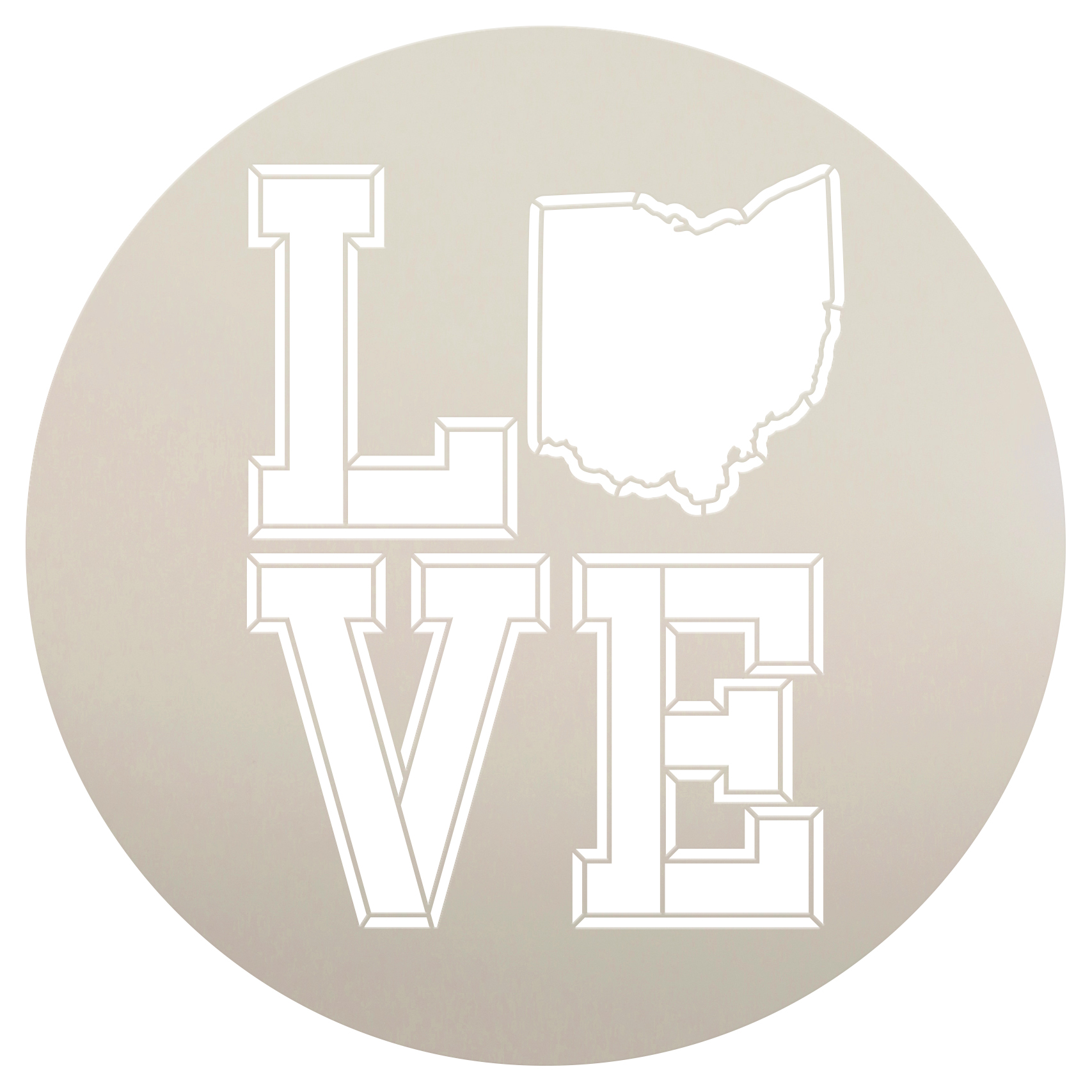 """Personalized Stencil   State   Love   Varsity Style   9.5"""" Round   Small"""