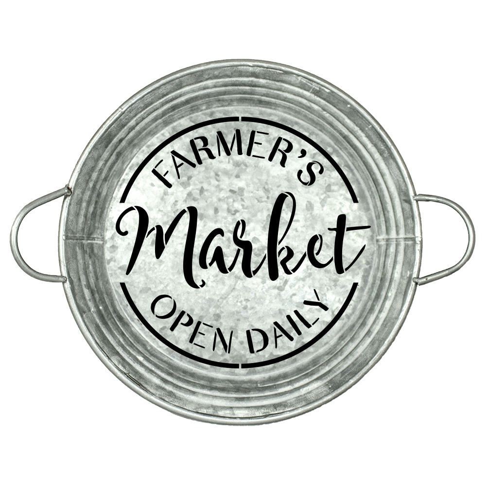 "Farmer's Market Open Daily Stencil by StudioR12 | Round - Reusable Mylar Template | 9.5"" Round 