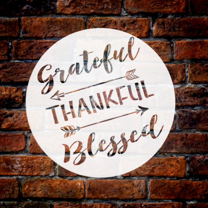 """Grateful Thankful Blessed Stencil with Arrows by StudioR12   Reusable Word Template for Painting on Wood   DIY Home Decor   Thanksgiving Signs   Fall and Autumn   9.5"""" Round   Small"""