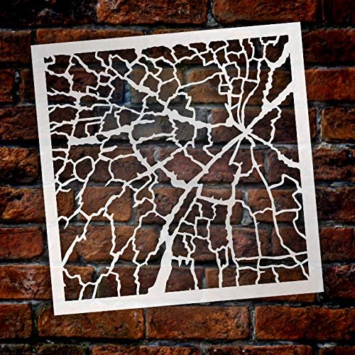 Multimedia Shattered Glass Wall Background Stencil StudioR12 | Reusable Mylar Template | Multi Layering Art Projects | Journal Art Word | Wood | DIY Home - Choose Size