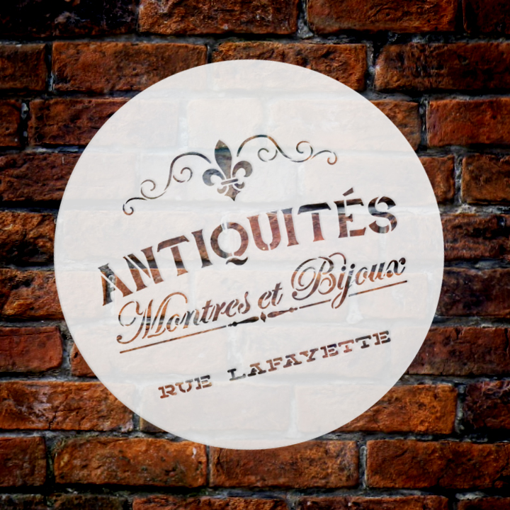 "Antiquities Montres Et Bijoux Rue Lafeyette Stencil by StudioR12   | 14"" Round 