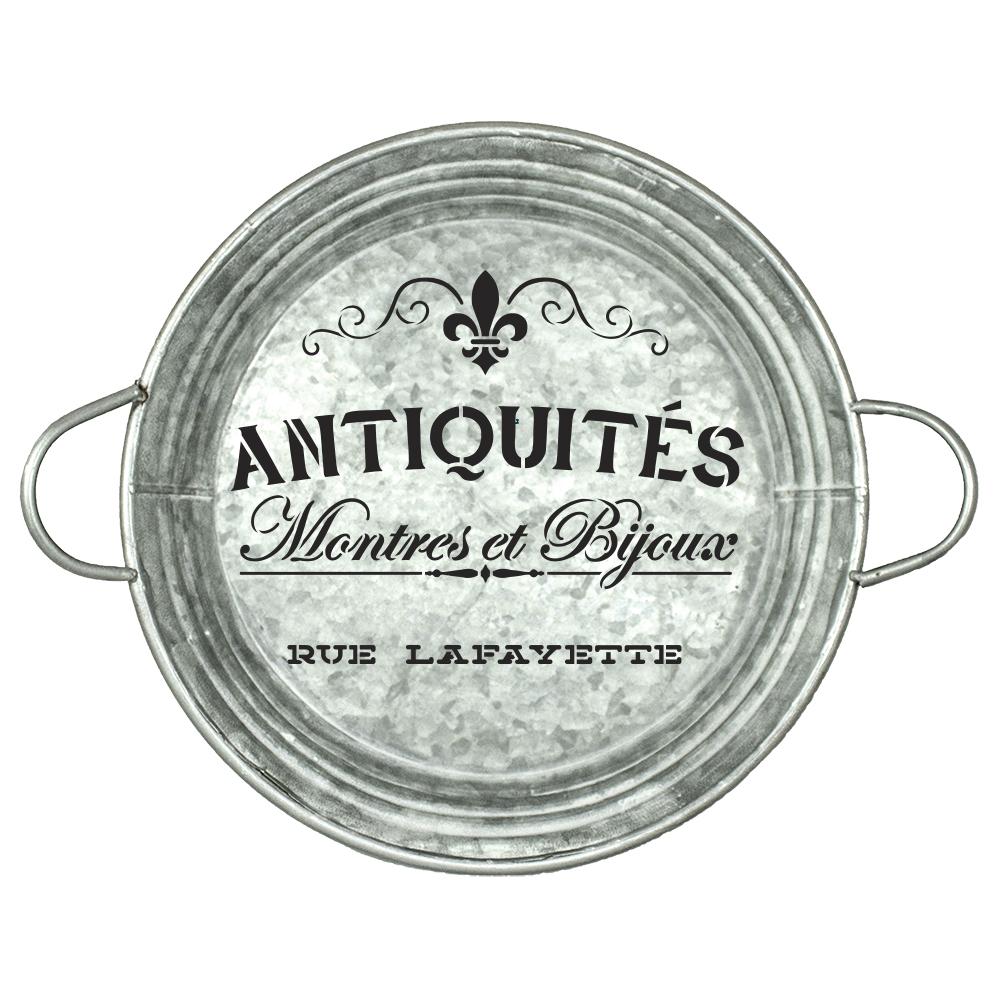 "Antiquities Montres Et Bijoux Rue Lafeyette Stencil by StudioR12   | 14"" Round | Large | French Words"