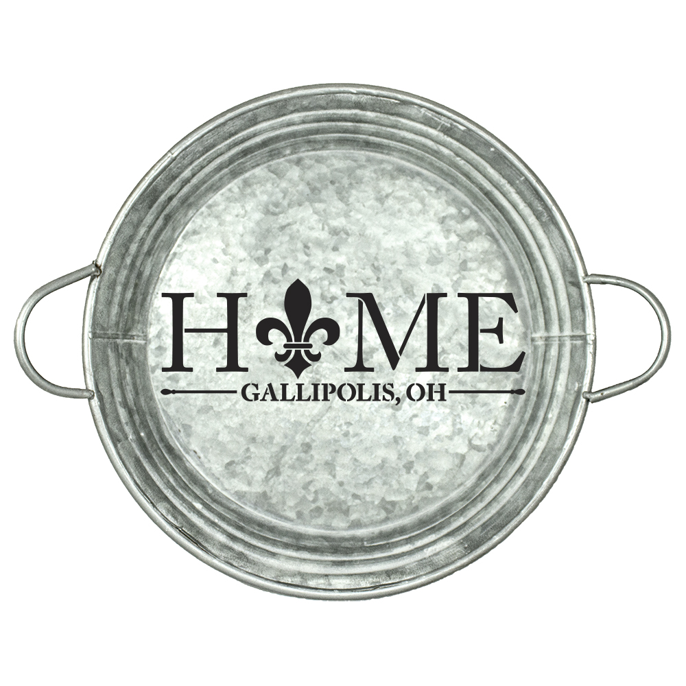 "Personalized Stencil | Hometown | Home with Fleur De Lis| 12"" Round 