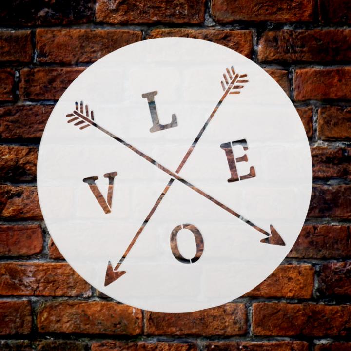 "Love with Crossed Arrows Stencil | by StudioR12 | Rustic | 12"" Round | Medium"