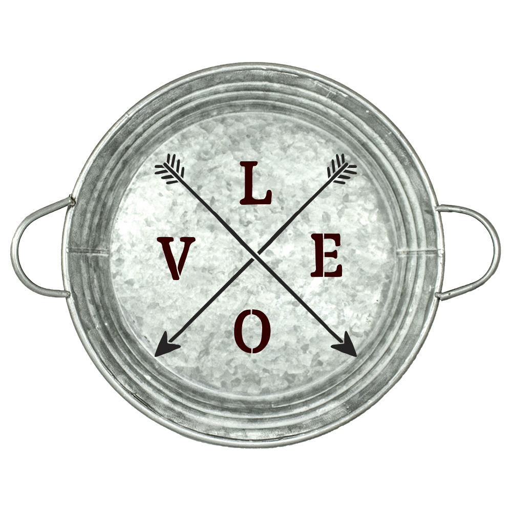 "Love with Crossed Arrows Stencil | by StudioR12 | Rustic |14"" Round 