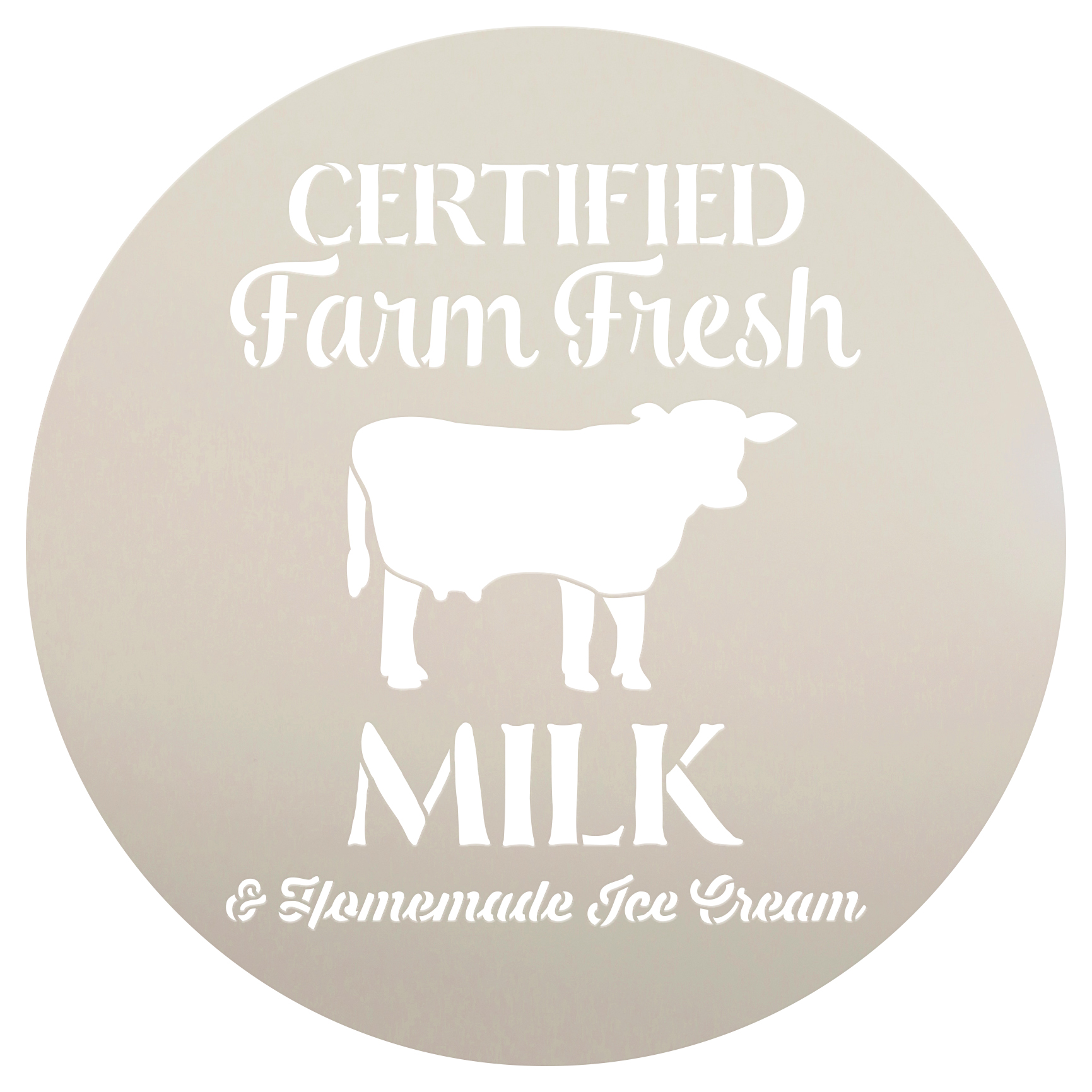 "Farm Fresh Milk Stencil by StudioR12 | Reusable Mylar Template | 12"" Round 
