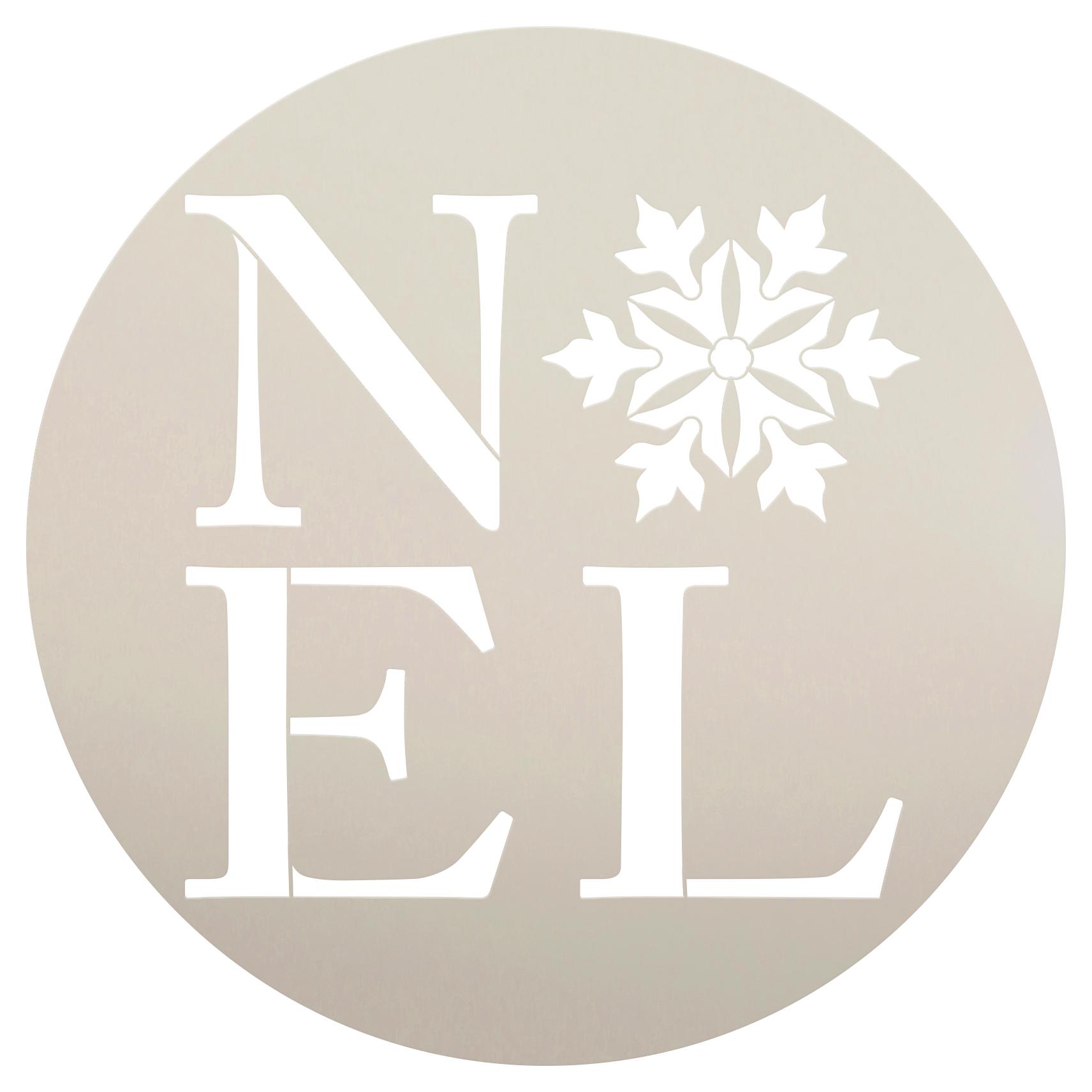 "Noel with Snowflake | Word Art Stencil | by StudioR12 | 12"" Round | Medium"