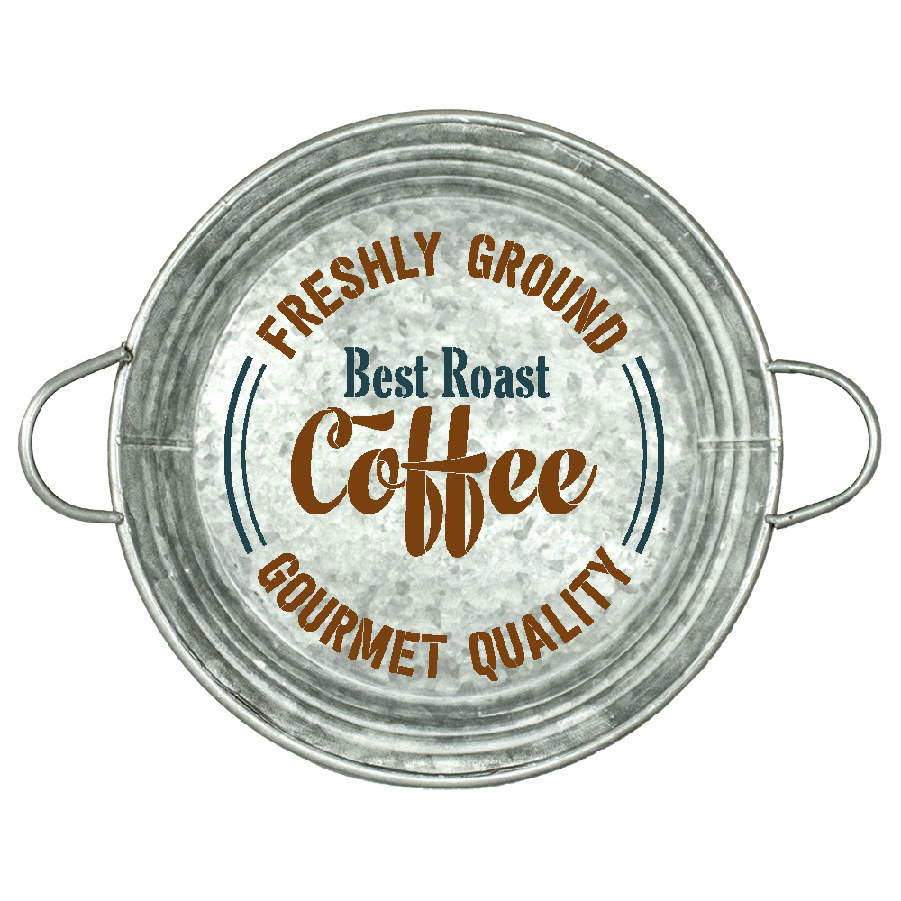 "Best Roast Coffee | Freshly Ground | Gourmet Quality Stencil by StudioR12 | Coffee Art  | Reusable Mylar Template | 14"" Round 
