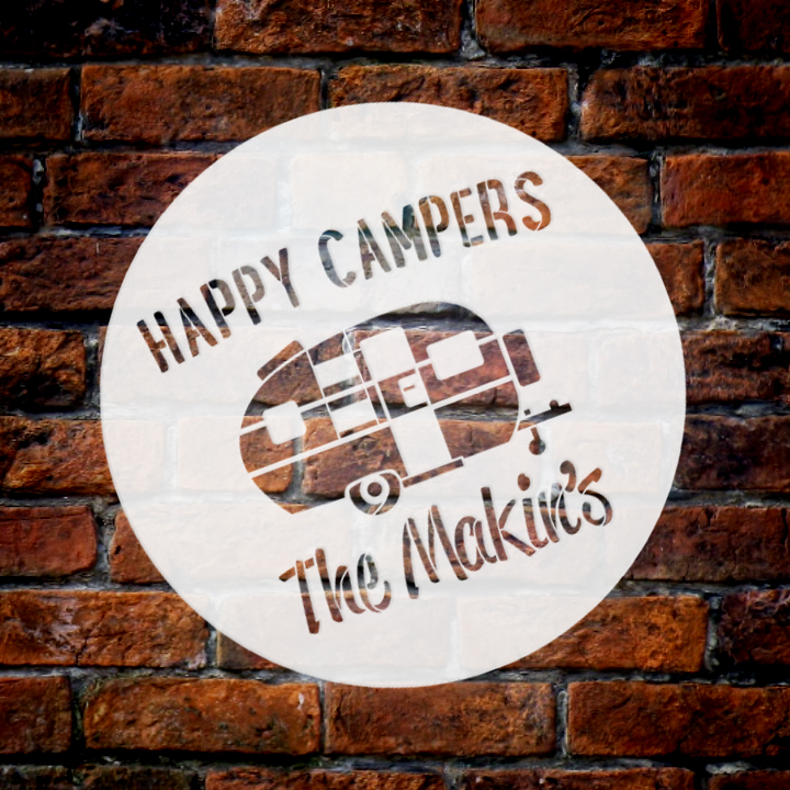 "Personalized Stencil by StudioR12 | Happy Campers| Word Art Reusable Custom | 12"" Round 