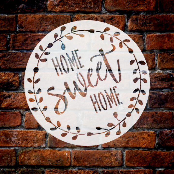 "Home Sweet Home Stencil with Laurel Wreath by StudioR12 | Reusable Mylar Template for Painting Wood Signs | Round Design | DIY Home Decor Country Farmhouse Style | 14"" Round 