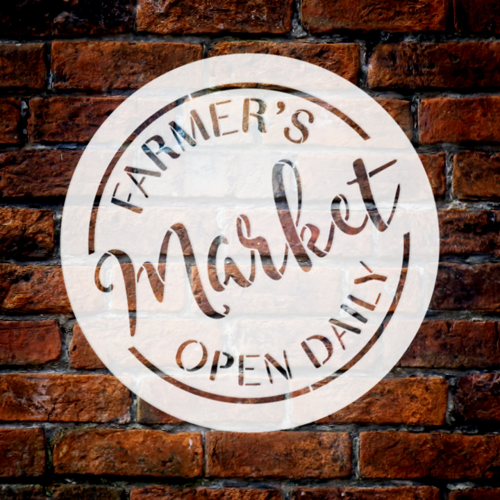 "Farmer's Market Open Daily Stencil by StudioR12 | Round - Reusable Mylar Template | 14"" Round 