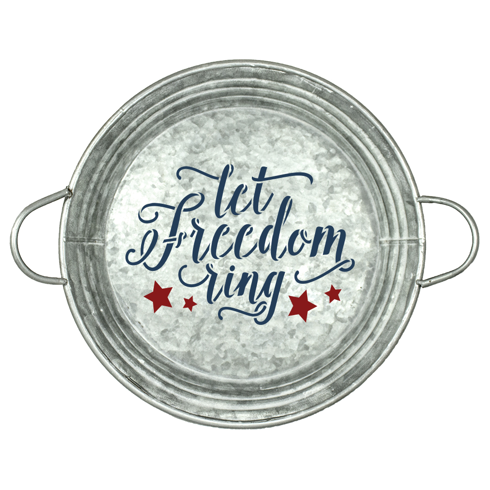 "Let Freedom Ring Stencil with Stars by StudioR12 | Script Style Reusable Word | DIY | Patriotic | Americana | 4th of July | 14"" Round 