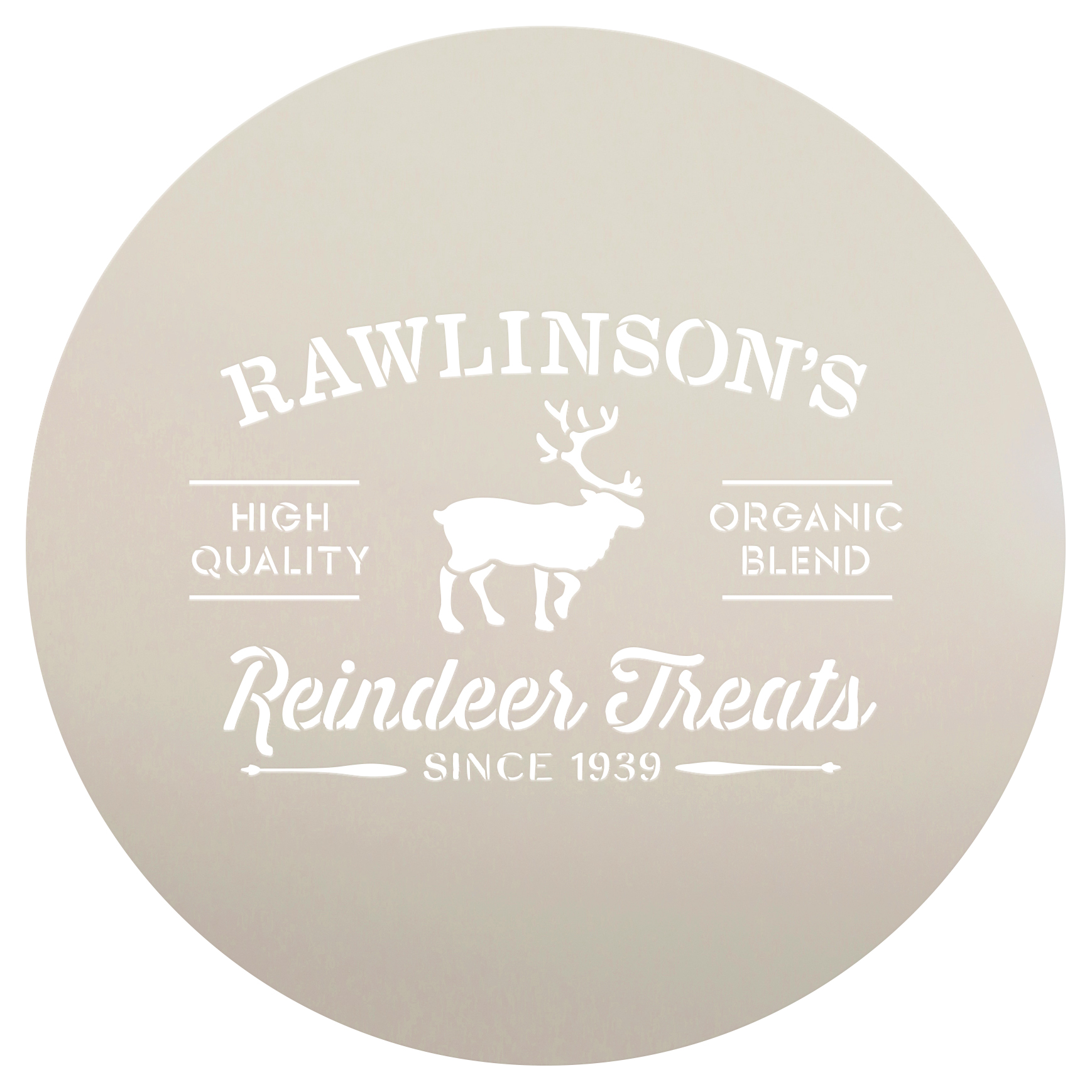 "Personalized Stencil by StudioR12 | Family Name| Reindeer Treats Christmas Word Art - Reusable Mylar Template | DIY | Christmas | 14"" Round 