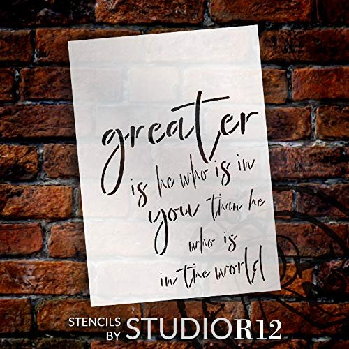 "Greater is He That is in Me Stencil by StudioR12 | Bible Verse Song Lyrics | Christian & Inspirational Wall Art | Reusable Mylar Template | Paint Wood Signs | DIY Home Craft | Select Size (10"" x 14"")"