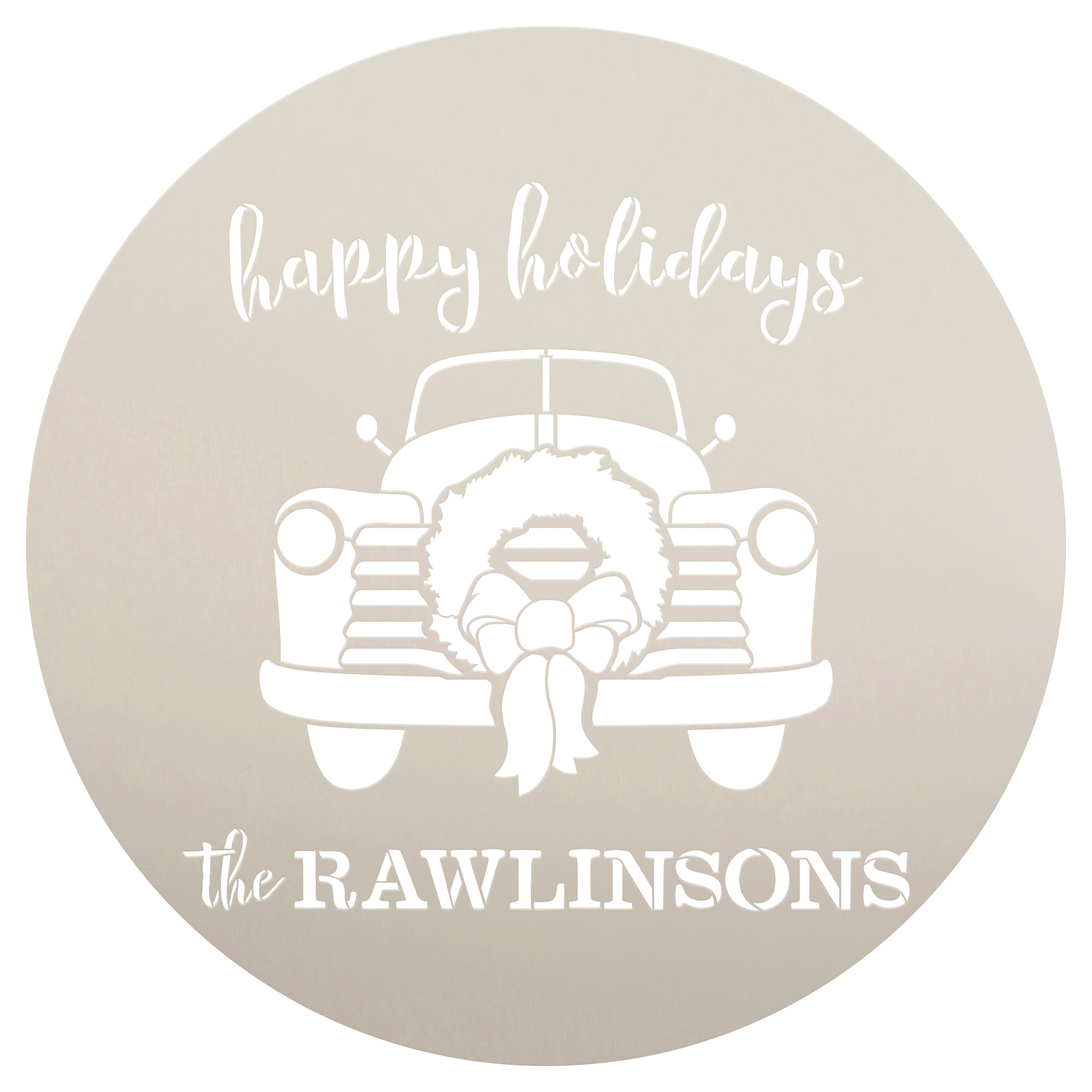 "Personalized Stencil by StudioR12 | Family Name | Happy Holidays | Truck Cursive Script Wreath Bow | Reusable Mylar Template | Craft | Rustic | Christmas | DIY  |Seasonal | Winter | 14"" Round | Medium"