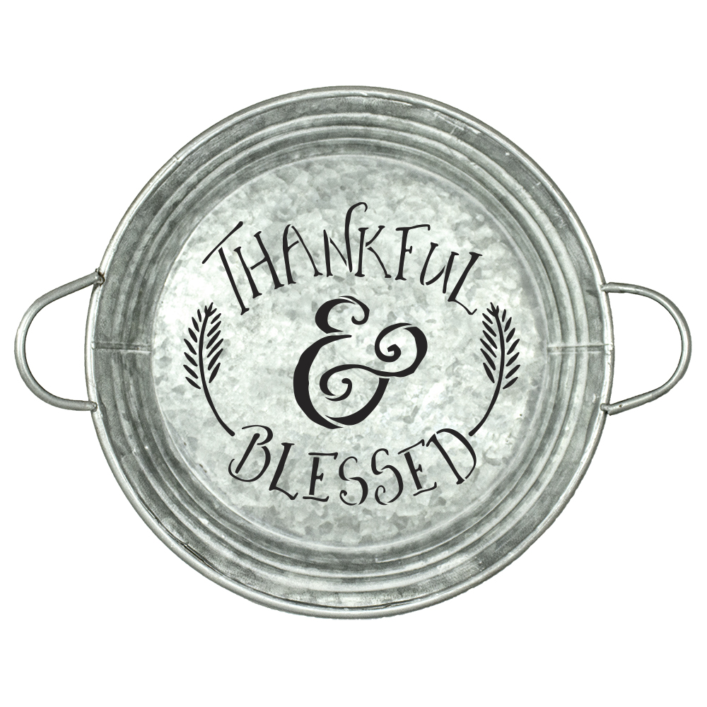"""Thankful and Blessed Stencil by StudioR12 
