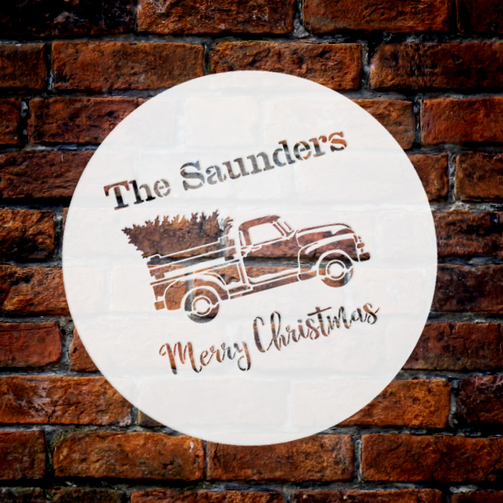 Personalized Stencil by StudioR12 | Family Name| Red Truck Merry Christmas | Reusable Mylar Template | Vintage | Nostalgic | Retro | Holiday | Rustic | Old Fashioned | Country | Holiday | 9.5 Round | Small