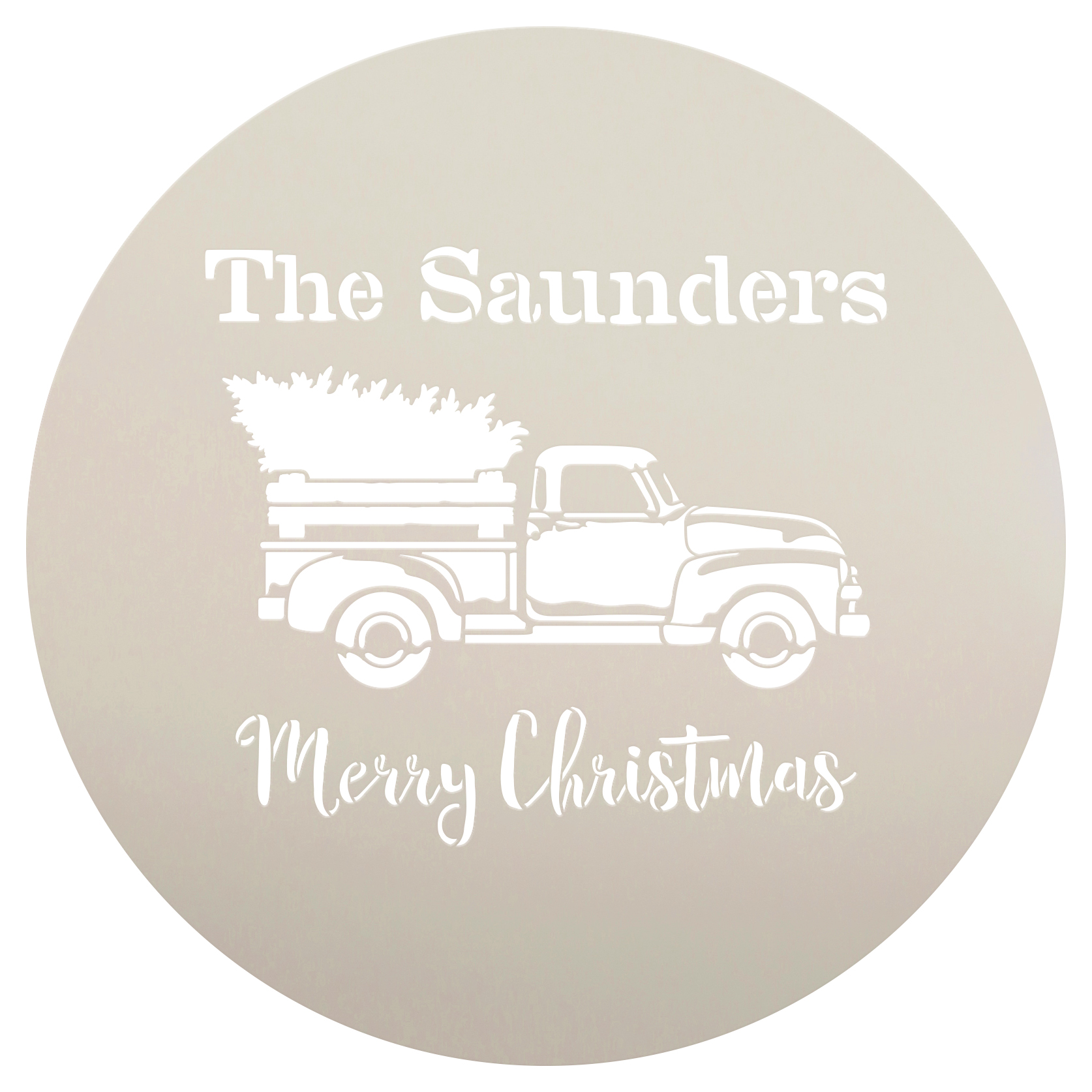 Personalized Stencil by StudioR12 | Family Name| Red Truck Merry Christmas | Reusable Mylar Template | Vintage | Nostalgic | Retro | Holiday | Rustic | Old Fashioned | Country | Holiday | 12 Round | Medium