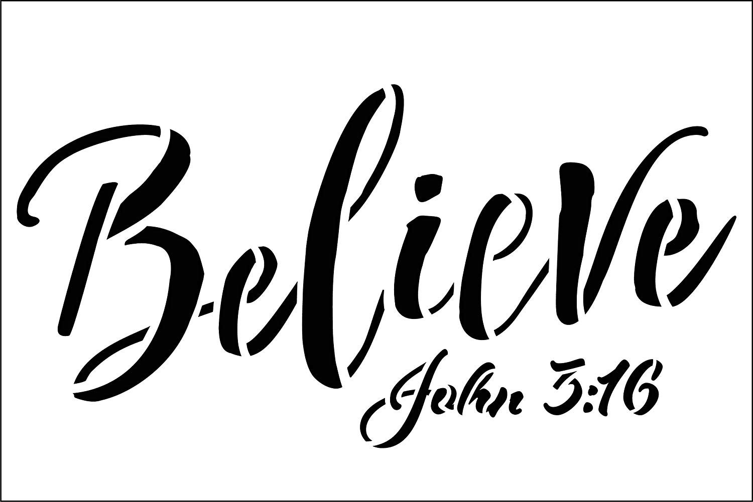Believe John 3:16 Stencil by StudioR12 | Christian & Inspirational Wall Art | Rustic Farmhouse Faith Decor | Paint Wood Signs | Reusable Mylar Template | DIY Home Crafting | Select Size
