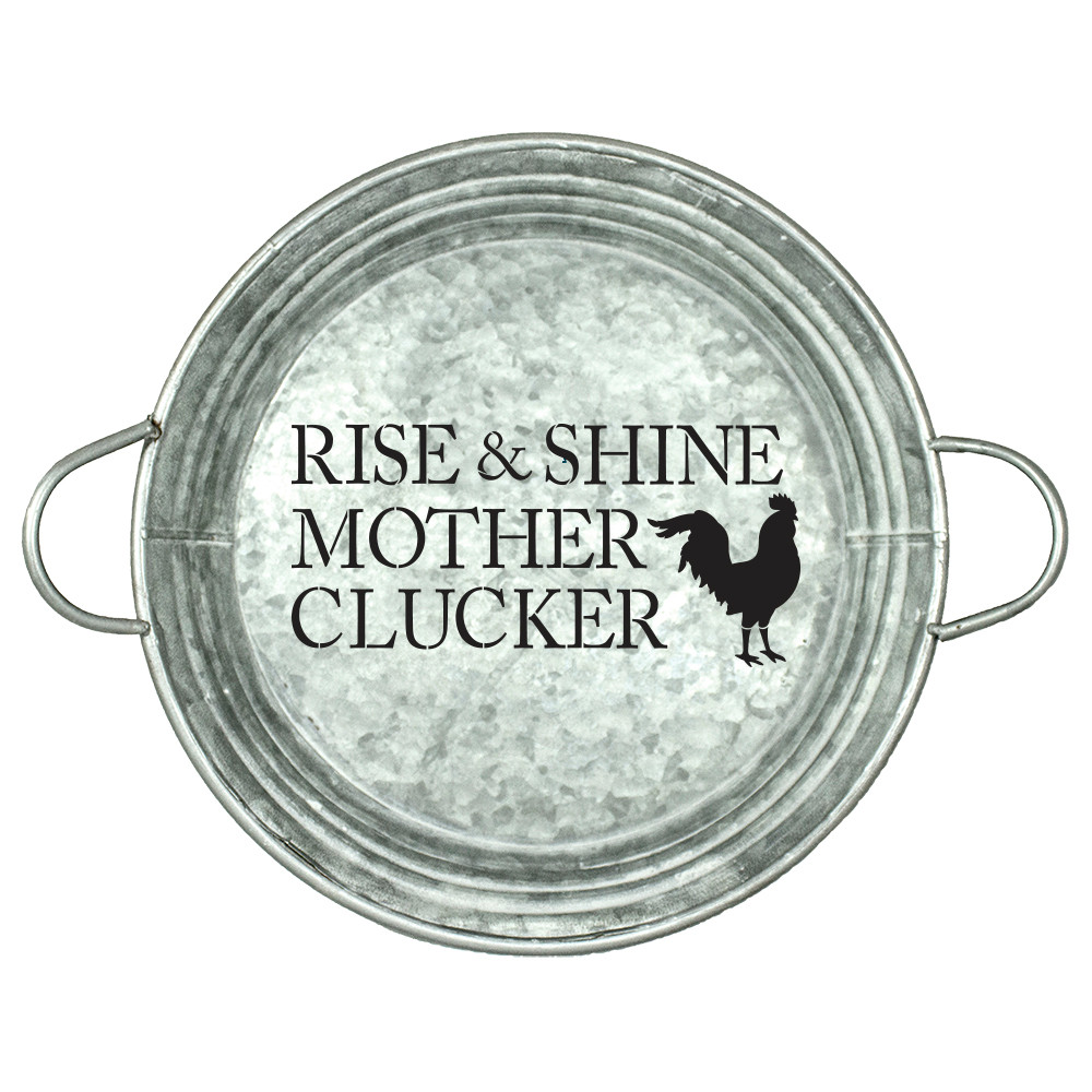 "Rise & Shine Mother Clucker Stencil by StudioR12 | Reusable Mylar Template |Country  | Chicken Coop | Funny | Hen House | DIY |14"" Round 