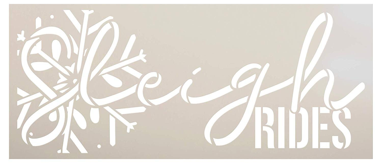 Sleigh Rides Stencil with Snowflake by StudioR12 | Cursive Script Santa Winter Holiday Christmas Decor | Reusable Mylar Template | Paint Wood Signs Chalk | DIY Home Crafting | Select Size