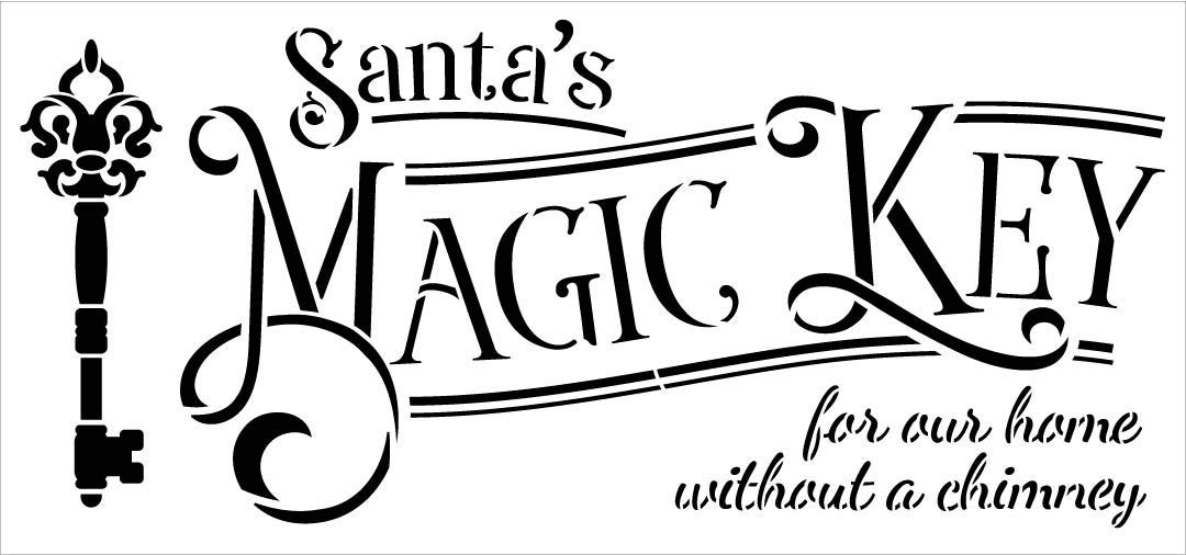 Santa's Magic Key Stencil by StudioR12 | Holiday Christmas Decor North Pole Workshop Home Without a Chimney | Reusable Mylar Template | Paint Wood Signs Chalk | DIY Crafting | Select Size